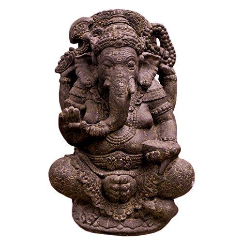 Oriental Galerie Ganesha Hinduismus Buddhismus Gott Götterbote Ganapati Geschenk Stein Lavastein Grau 80cm