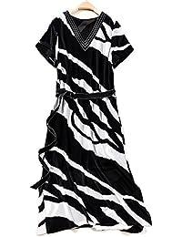 492b26df530d YYD  Femmes Summer Stripe Sleeeve Knot Ribbon Tie Side V-cou gaine soie Midi