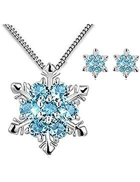 Findout Damen Sterlingsilber blau Kubische Zirconia Schneeflocke Anhänger Halskette für Frauen Mädchen (f1738)...