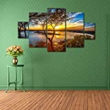 Poster HD Prints Modern Wall Art Canvas for Living Room 5 Pieces Sunset Tree Landscape Pictures Decor Forest Painting