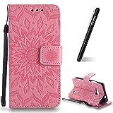 Schutzhülle für Microsoft Lumia 550 Pink,Slynmax Mandala Wallet Case Handyhülle für Microsoft Lumia 550/Nokia N550 Tasche Klapphülle Flip Ledertasche Handytasche Stand KartenfächerFlower