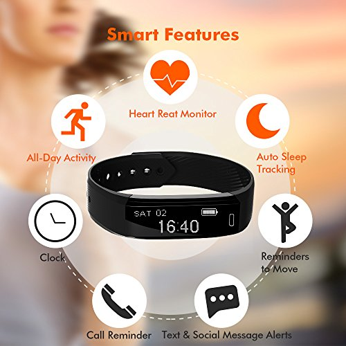 Ancheer Fitness Tracker, Activity Tracker Uhr Herzfrequenz Monitor Schritt / Schlaf / Kalorienzähler Call / SMS Erinnerung Armband Band Wasserdicht Wireless Bluetooth Wristband Smart Pedometer - 2