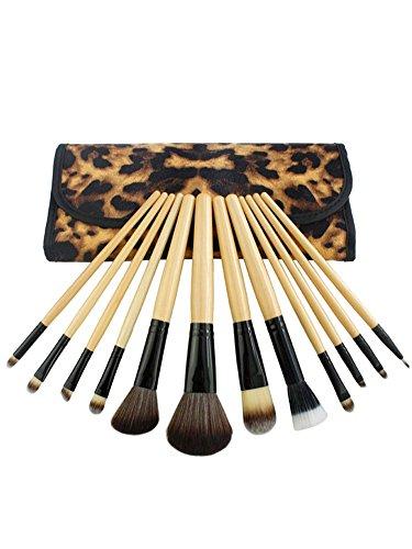 NiSeng 12 Pcs Pinceau de maquillage poignée en bois Powder / Fondation / Correcteur / Fard à Paupières / Lip / Blush avec Imprimé Léopard Case Abricot