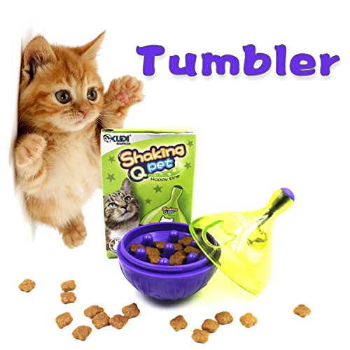 Splink Katzenspielzeug Snackball Futterball Interaktives IQ Treat Training Leckerlie Ball Spielball für Trockenfutter und Leckerlies