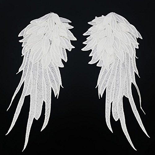 1 Paar Wicemoon Engel Flügel Spitze Schulter Venedig Stickerei Nähen Applique DIY Tuch Zubehör (Weiß)
