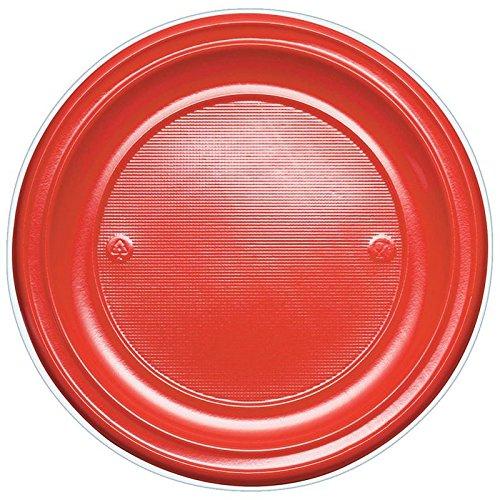 Générique 50 Assiettes Plastique 17CM Rouge