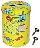 Spardose / Schatzdose -  Zum Schulanfang Alles Gute !  - mit Schlüssel - Stabile Sparbüchse aus Metall - Schulstart Fest & Feier - Deko - Dekoration - Spars..