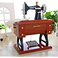 YTYRTIK Diseño de la máquina de Coser Caja de música de Madera Reloj mecánico Retro Caja