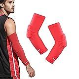 Arm Sleeve Basketball Shooting Sleeve EULANT 1 Paar Kompressions Armstulpen mit Ellbogenschutz Herren und Damen Handball Armstulpe (Rot/M)