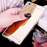FESELE Silikon Schutzhülle für [Huawei P9 Lite] Mirror Soft Case Handy Hülle Schutzhülle, Luxus Spiegel Hülle Überzug Gold Schlank Handy-Gehäuse Hülle Transparent Crystal Rahmen Weiche Silikon TPU Schutzhülle Cover Case für Huawei P9 Lite + Blau Eingabestift Stylus Touch Pen-Spiegel,Gold
