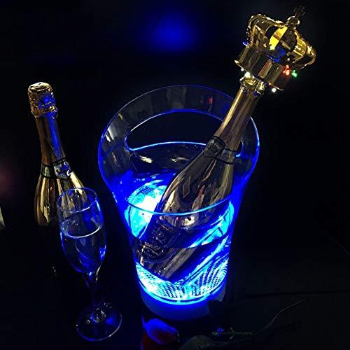 JTHAO Bunte LED Eiskübel, LED Kühler Eimer Bierfass Kreative Tragbare Wein Lade Lebensmittelqualität Eimer Kunststoff Vasen Für Mittelstücke Party Eimer Wein Champagner Barrel Bar KTV (Color : Blue) (Kunststoff Vasen Für Mittelstücke)