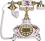European style garden style antique vintage telephone (caller ID) Size: 23x25x26cm A+ (Color : White pink)