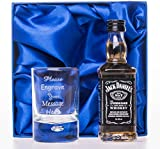 Engraved/Personalised Shot Glass & Jack Daniels in Silk Gift Box Set For Girls/Boys/Best Man/Dad/Wedding/18th/21st/30th/40th Birthday Gift