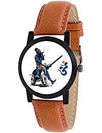 "Star Villa New Arrival Special Collection ""Lord Shiva"" Theme Brown Round White Dial Bike Designed Dial Brown Leather..."