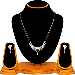 Navya Collection American Diamond Latest Design Silver Golden Mangalsutra Set For Woman