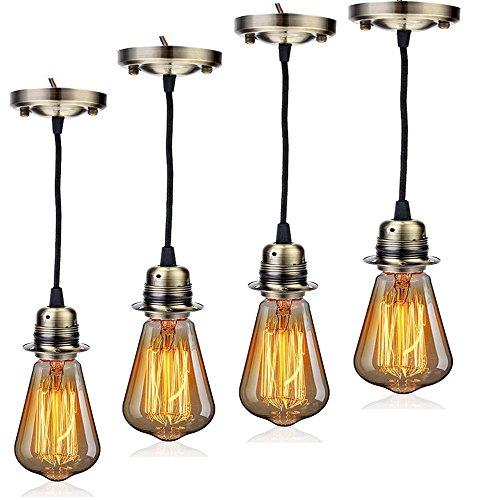 Edison-sockel-lampe (GreenSun LED Lighting Vintage 4x Lampenfassung Industrie Look E27 Fassung + 40W Retro Edison Lampe ST64 mit 3-adrig Kabel Metall Look Sockel Lampenzubehör DIY Pendelleuchte, Brass)