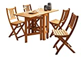 SAM 5tlg. Gartengruppe Igor, Akazien-Holz Massiv, klappbar & geölt, FSC® 100%, 1x Tisch 130x63 cm & 4X Gartenstuhl