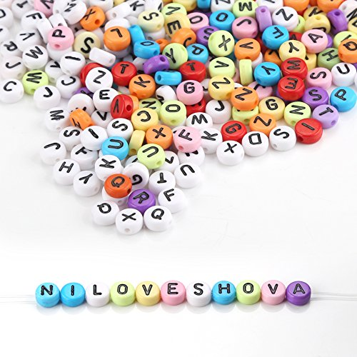 Alphabet Buchstaben Perlen 1200 Stück Mischfarben Runden Buchstaben Perlen A-Z Perlen mit Gewinde für Schmuckherstellung, Armbänder, Halsketten, Schlüsselanhänger und Kinder Schmuck