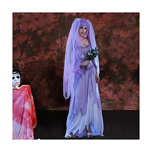 stüm Rolle Spielen Queen Bar Leistung Kleid White Zombie Braut geisterkostüm Gothic Langer Rock ()