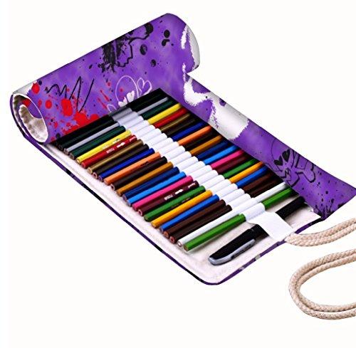 lpapers Design Leinwand Wrap Halter für 48farbigen Bleistift, Rolle Fall für Gel Pen, Reisen Organizer Tasche für Künstler, Mehrzweck (keine Bleistifte im lieferumfang enthalten), 48Löcher (Halloween-designs-wallpaper)