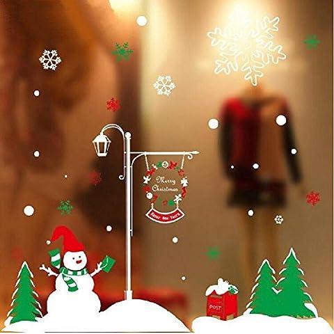 YYH Noël bonhomme de neige verre autocollants multicolores verre porte Stickers muraux, paquet de 10