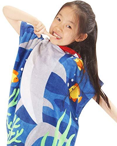 CUOCU Kinder Baumwolle Poncho Kapuzen Badetuch Bademantel Schwimmen Strand Tuch Weich Trocknend Cartoon für Mädchen Jungen (Astronaut,Meerjungfrau,Delphin Weißer Hai 80cm