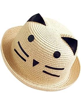 Moollyfox Sombrero de Playa Gorra Paja Verano Gato Adorable Para Niño Niña Beige