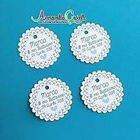 Cartellini bomboniera personalizzati bimbo, ragazzo, bomboniere, azzurro, etichette, battesimo, comunione, cresima, celeste, rotondo, azzurro, scalloppato bimbo