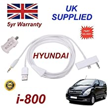Hyundai i-800iPhone 6Plus conectividad audio 3.5mm AUX & USB Cable con adaptador de alimentación USB