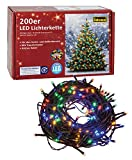 Idena 8325068 LED Lichterkette mit 200 LED bunt, mit 8 Stunden Timer Funktion, für Partys, Weihnachten, Deko, Hochzeit, als Stimmungslicht, ca. 27,9 m