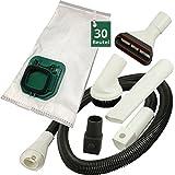 30 Stück Staubsaugerbeutel / Filtertüten , Düsenset und Schlauch passend für Vorwerk Kobold VK 150