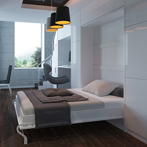 Schrankbett 140cm Vertikal Weiß Hochglanzfront, ideal als Gästebett – Wandbett, Schrank mit integriertem Klappbett, SMARTBett - 2