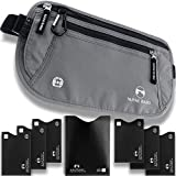 Travel Hidden Money Belt - Security Pouch for Cards and Passports - High Quality RFID Waterproof Breathable Material - Protect Your Cash and Conceal Valuables with 7 Bonus Sleeves