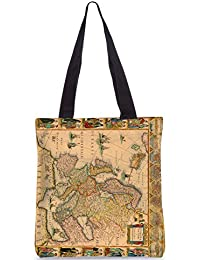 Snoogg World Map Designer Poly Canvas Fashion Printed Shopping Shoulder Lunch Tote Bag For Women