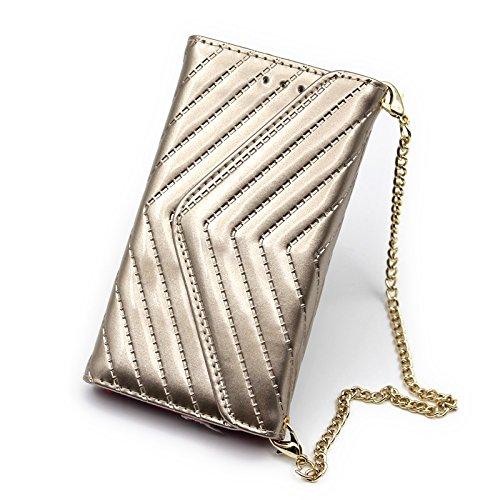 Abnehmbare 2 in 1 V-Form Magnetverschluss Ledertasche mit Brieftasche Funktionskartensteckplätze und Trageschlaufe für iPhone X ( Color : Black ) Gold