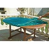 Maillesac JP0132-Funda para mesa de jardín mesa ovalada o rectangular, plástico, color verde translúcido 23 x 19 x 9 cm, talla 4