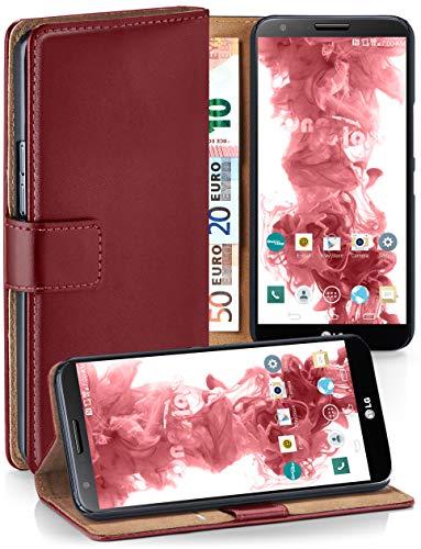 moex® Booklet mit Flip Funktion [360 Grad Voll-Schutz] für LG G2 | Geldfach und Kartenfach + Stand-Funktion und Magnet-Verschluss, Dunkel-Rot (Lg Handy-fall G2 Für)