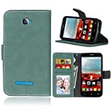 COZY HUT Per Alcatel One Touch Pop C7 Cover Custodia,Retro Matte Design con Magnetico Snap-on Book Style Internamente Silicone TPU Custodie Cover per Alcatel One Touch Pop C7-Smerigliato Verde