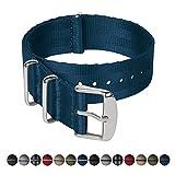 Archer Watch Straps | Cinturini NATO in nylon di altissima qualità stile cintura di sicurezza | Cinturini di ricambio resistenti tipo militare | Nero e Grigio (James Bond)/Acciaio inox, 20mm