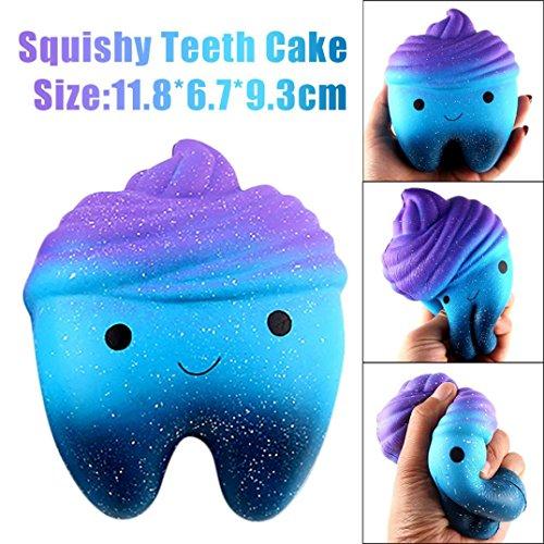 Squishy Spielzeug, Hmeng Squishies 12cm Galaxy Zähne Kuchen Duft Langsam Rising Squeeze Stress Relief Spielzeug Jumbo Collection Hauptdekoration (12*6.7*9.3cm, Wie das Bild)