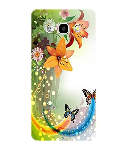 Gismo Flower Butterfly Theme Printed TPU Soft silicon Flexible Case Cover For Samsung Galaxy J7-6 (2016 Edition)