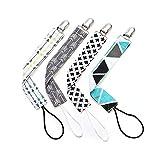 Schnullerband Baby Schnullerketten Clips Set 4er Set,Unisex Stylisches Design für Jungs & Mädchen für Beißring-Spielzeuge (grey)