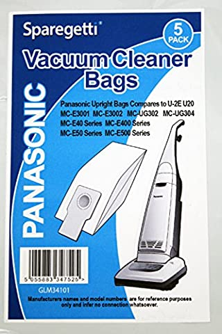 Qualité vertical Panasonic MCE SERIES MC-UG302 MC-UG304 Lot de 5 sacs aspirateur par sparegetti®