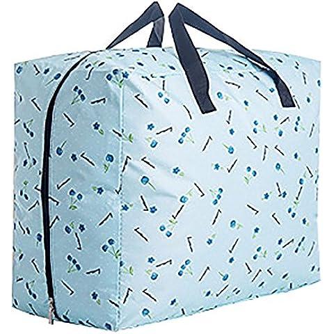 Moolecole Casa Acolchar Ropa Bolsa Ahorradoras De Espacio Estuche De Cremallera Tela De Oxford Almohada Manta Caja Contenedora Luz Azul Cereza 58*41*27cm