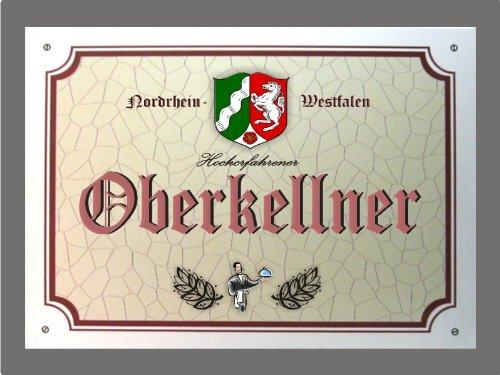 Metallschild Oberkellner - Schild Nordrhein-Westfalen (XXL 36 x 28 cm)