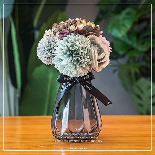 Jnseaol Kunstblumen Gefälschte Blume DIY Kreative Hochzeit Party Dekoration Glas Topf Vintage Farbe Blume-11