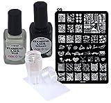 Stamping-Starter-Set, Stampinglack 2x10ml, 1 Schablone, 1 Stempel