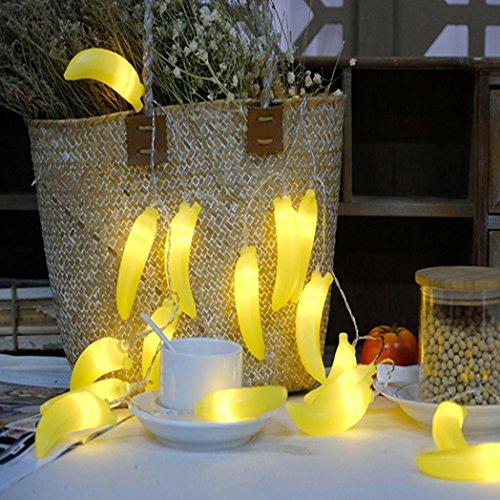 DOLDOA Banana Batterie-Kasten Lichterkette für Haus, Hochzeit, Weihnachten, Erntedankfest (10er – Länge: 1.5M, Licht Farbe: Gelb)