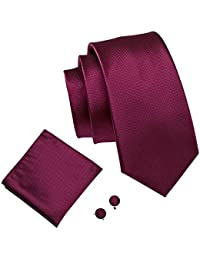 Barry.Wang Silk Tie Solid Cufflinks Handkerchief Business Necktie Formal Set Various Colors