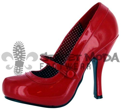 Pleaser Cutiepie 02, Escarpins femme Rouge - Rouge